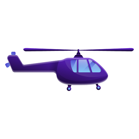 cartoon helicopter isolated on white background, vector illustration