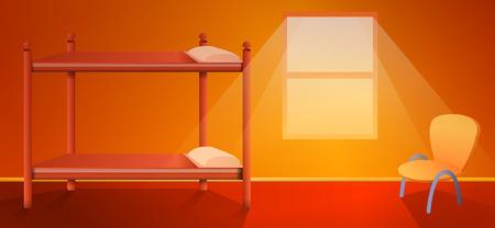 cartoon hostel interior with a bed, vector illustration