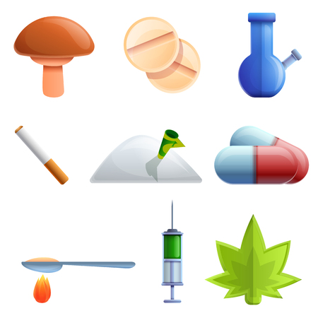 cartoon drug icon set, vector illustration Reklamní fotografie