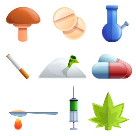 cartoon drug icon set, vector illustration Stock Photo