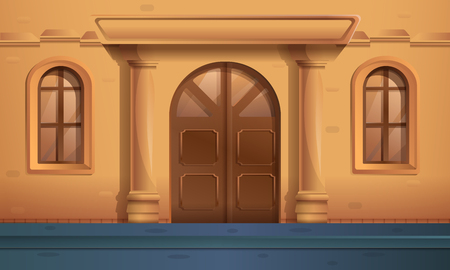 cartoon street with an entrance to a beautiful old house, vector illustration Illustration