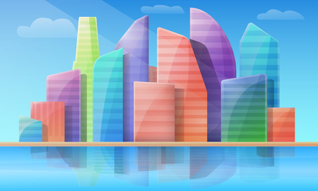 Cartoon panorama of the city with skyscrapers at day, vector illustration