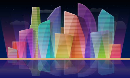 Cartoon panorama of the city with skyscrapers at night, vector illustration Illustration