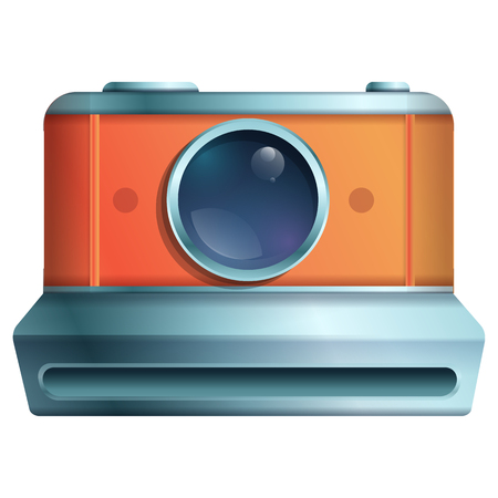 cartoon vintage camera icon on a white background, vector illustration