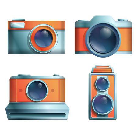 Conjunto de iconos de cámaras vintage de dibujos animados sobre un fondo blanco, ilustración vectorial