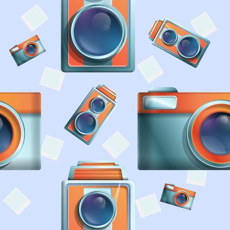 seamless cartoon phot on the theme of vintage cameras, vector illustration
