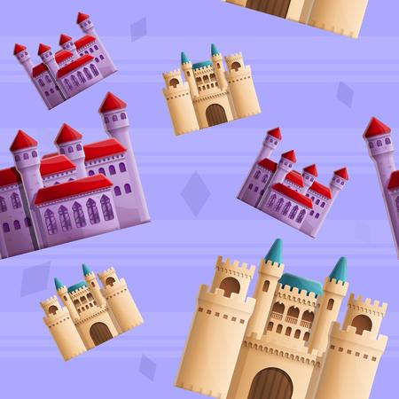 beautiful cartoon seamless pattern on the theme of castles, vector illustration