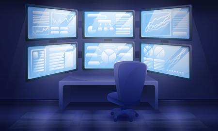 cartoon cabinet interior with many monitors, vector illustration Ilustrace