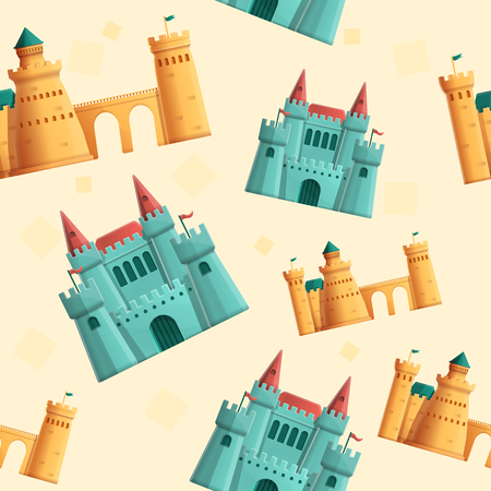 beautiful cartoon seamless pattern on the theme of castles, vector illustration