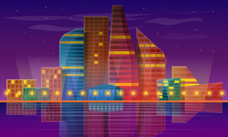 panorama of the city at night, vector illustration