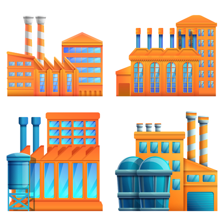 set of cartoon icons of factories and plants vector illustration