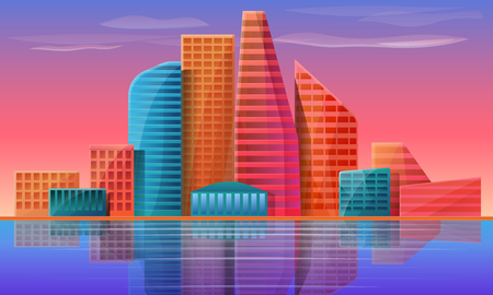 panorama of the city on the background of the dawn, vector illustration