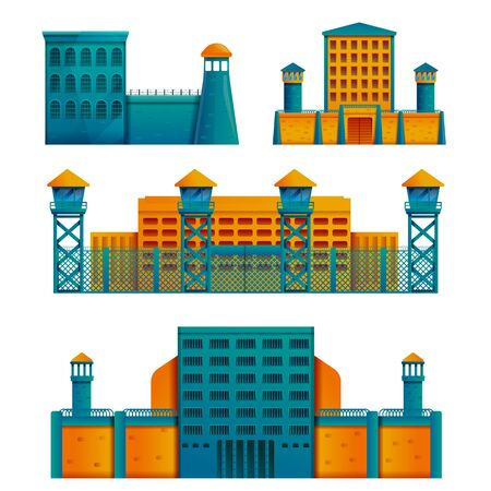prison buildings icon set isolated on white background, vector illustration