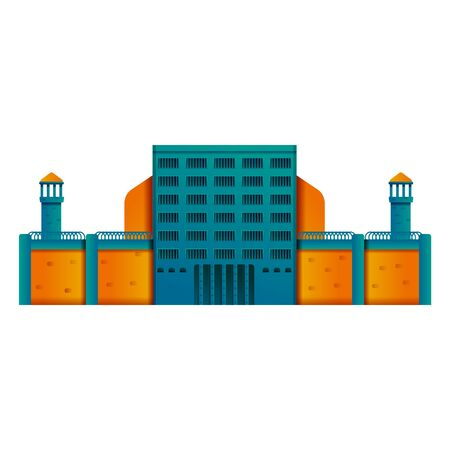 prison building icon isolated on white background, vector illustration