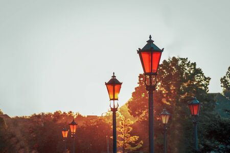 sunset over the old street of wroclaw spring in poland