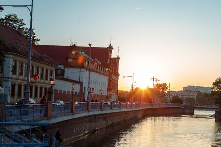sunset over the river Odra and Wroclaw panorama in soring 스톡 콘텐츠