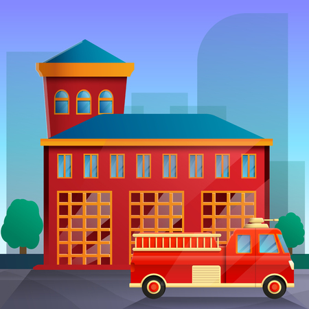 cartoon fire station and fire truck on the background of the city, vector illustration 일러스트