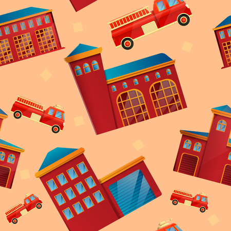 seamless pattern on the theme of the fire station, vector illustration