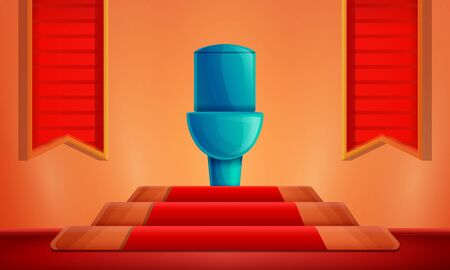 cartoon room with a toilet on a pedestal, vector illustration