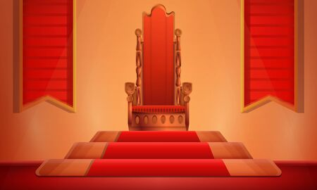 cartoon hall with a throne on a pedestal, vector illustration