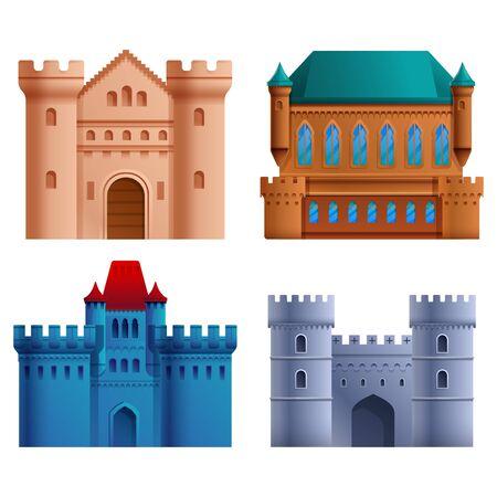 set of beautiful cartoons castles, vector illustration