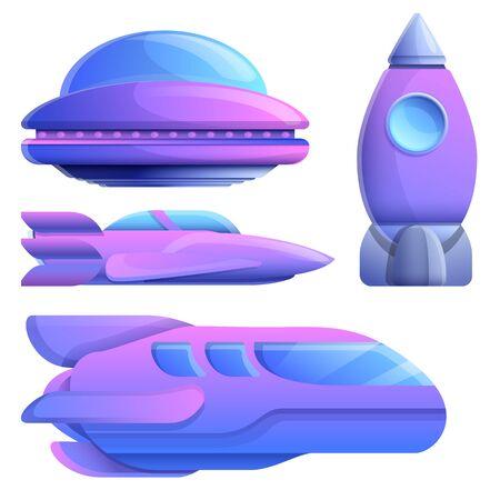 set of cartoon space ships, vector illustration 일러스트