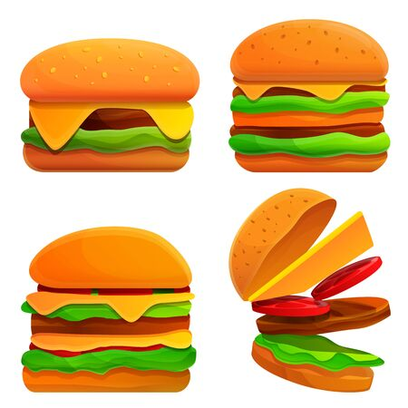 cartoon burgers set, vector illustration 일러스트