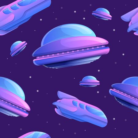 seamless texture of space ships in space, vector illustration