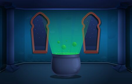 Cartoon magic tower of the sorcerer's castle with a cauldron with an elixir at night, vector illustration