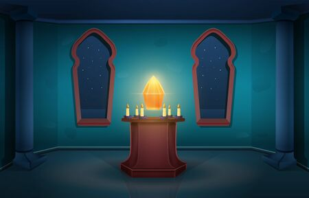 Cartoon magic tower of the sorcerer's castle with crystal at night, vector illustration