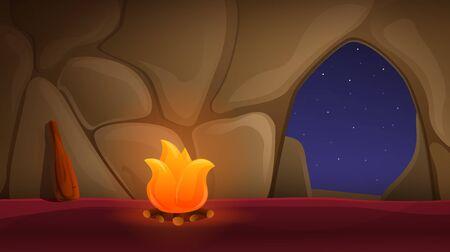 cartoon ancient cave with bonfire, vector illustration 일러스트