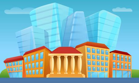 Cartoon city panorama with skyscrapers, vector illustration