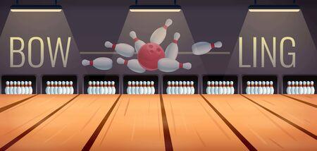 cartoon bowling room, vector illustration Illusztráció