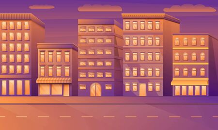 Cartoon empty city street with buildings in the morning, vector illustration.