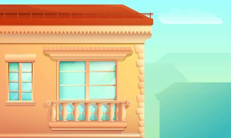 cartoon building facade with a balcony and a window in the old style, vector illustration