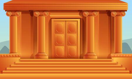 cartoon greek temple with columns, vector illustration