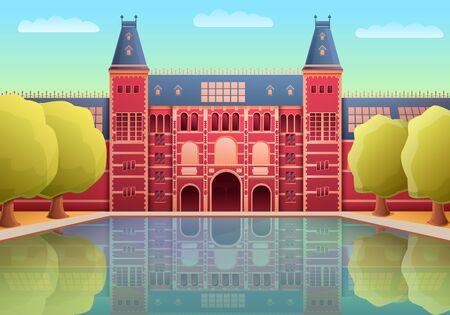 cartoon rijksmuseum landmark of amsterdam, vector illustration 일러스트