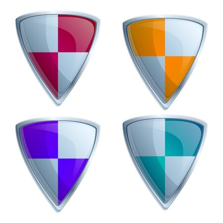 set of four steel shield icons, vector illustration