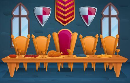 fête royale de luxe dans la salle du trône, illustration vectorielle Vecteurs