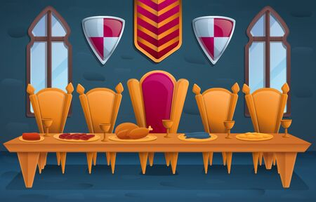 luxury royal feast in the throne room, vector illustration