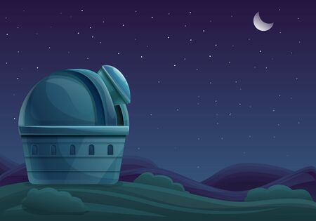 Cartoon building of the observatory at night with a telescope in the sky with stars, vector illustration