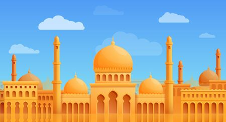 cartoon panorama of arab city with mosque vector illustration