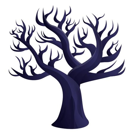 gloomy curved dry tree icon, vector illustration