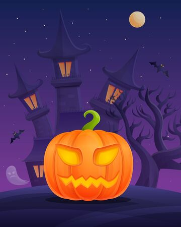 Halloween cartoon poster with pumpkin on castle background at night, vector illustration