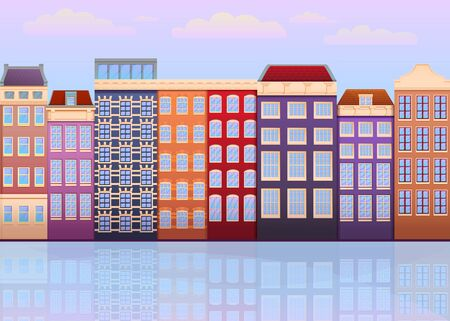 Cartoon facades of houses in Amsterdam, the Netherlands, vector illustration