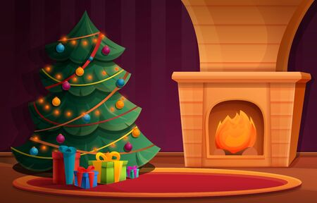 Cartoon team with a Christmas tree by the fireplace and gifts, vector illustration