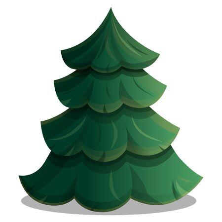 Cartoon beautiful green tree icon cartoon, vector illustration