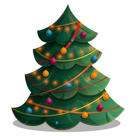 cartoon tree decorated with lights and decorations, vector illustration 일러스트