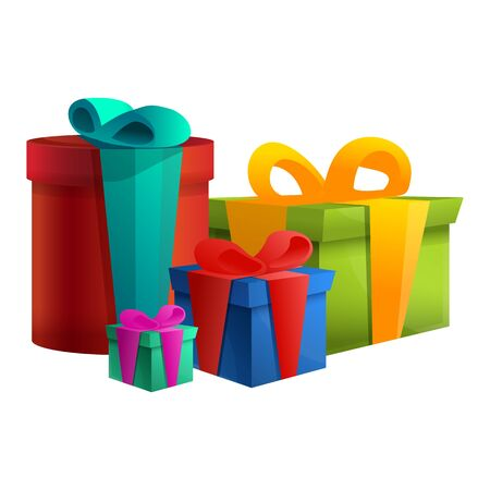 set of different boxes with gifts, vector illustration
