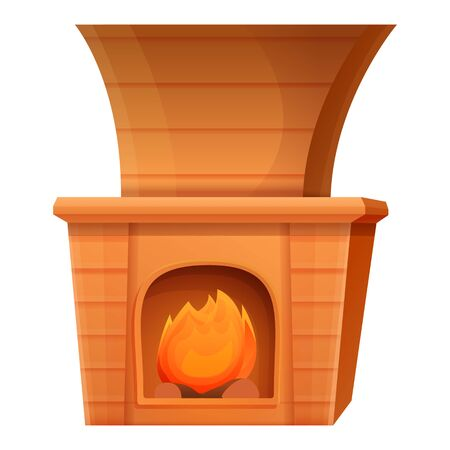 cartoon fireplace with burning fire, vector illustration 스톡 콘텐츠 - 140289185